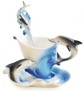 Dolphin Tea Cup & Saucer Set