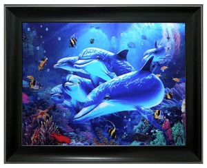Framed 3D Holographic Dolphins Picture