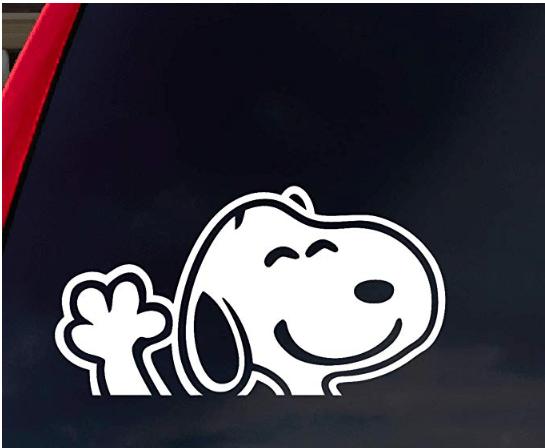 Waving Snoopy Car Window Decal