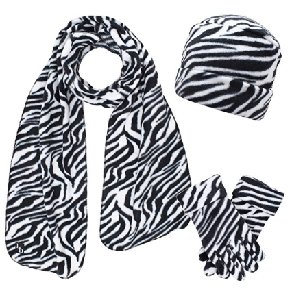 Zebra Print Hat And Scarf Set