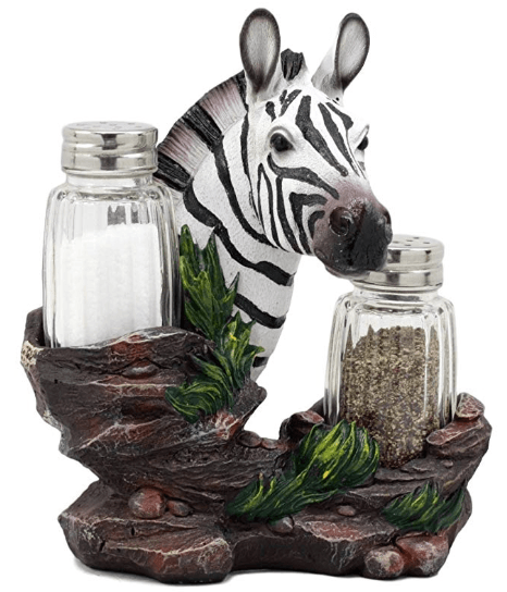 Zebra Salt And Pepper Shakers Holder